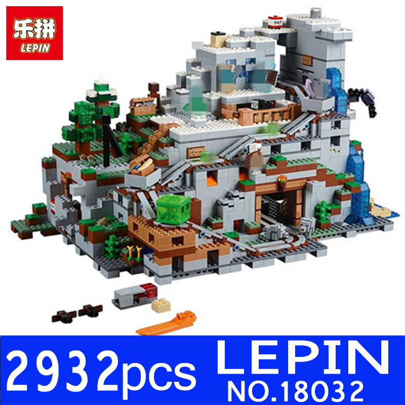 LEPIN 18032 1673pcs 18008 My World Series Miniecraft The Mountain Building Blocks Bricks Model Compatible 21137 Toy for Children dhl lepin 18032 2932 pcs the mountain cave my worlds model building kit blocks bricks children toys clone21137 in stock