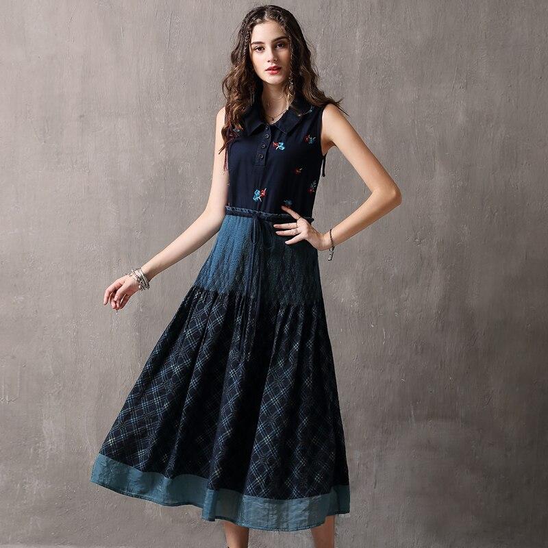Women Dress 2018 Keer Boho Cotton Embroidery Ruffles Dresses Peter pan Collar Tank Vestido A82103 Vintage Denim Vestido Feminina