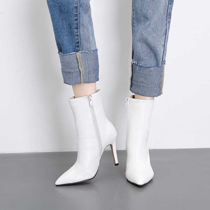 Autumn new white female boots fine with high heels boots zipper boots fashion beautiful shoesAutumn new white female boots fine with high heels boots zipper boots fashion beautiful shoes