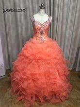 Novo Estoque Coral Vestidos Quinceanera 2019 Frisada vestido de Baile Longo Vestido de Baile Vestidos De 15 16 Anos