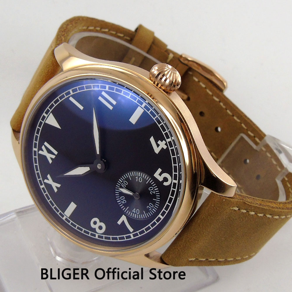 44MM Black Sterile Dial Rose Golden Case Lighting Pointer Brown Leather 17 Jewels 6498 Hand Winding Mechanical Mens Watch PA58744MM Black Sterile Dial Rose Golden Case Lighting Pointer Brown Leather 17 Jewels 6498 Hand Winding Mechanical Mens Watch PA587