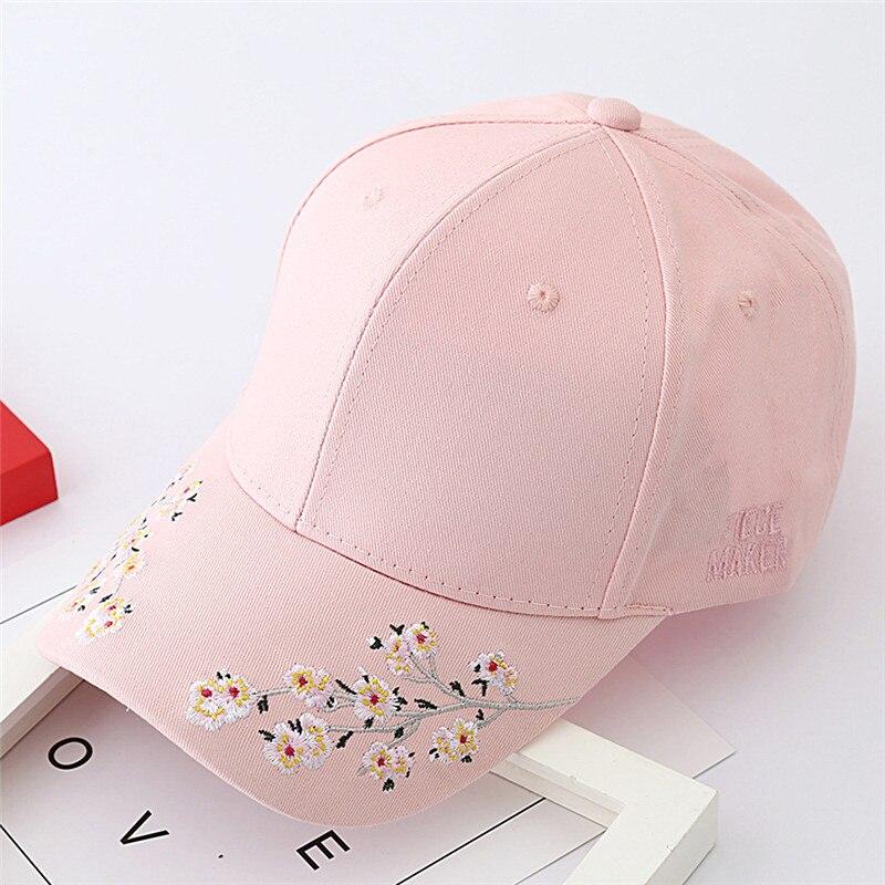 3c711a66d6f Tide Flowers Embroidery Baseball Cap Women Black Pink Symmetrical ...