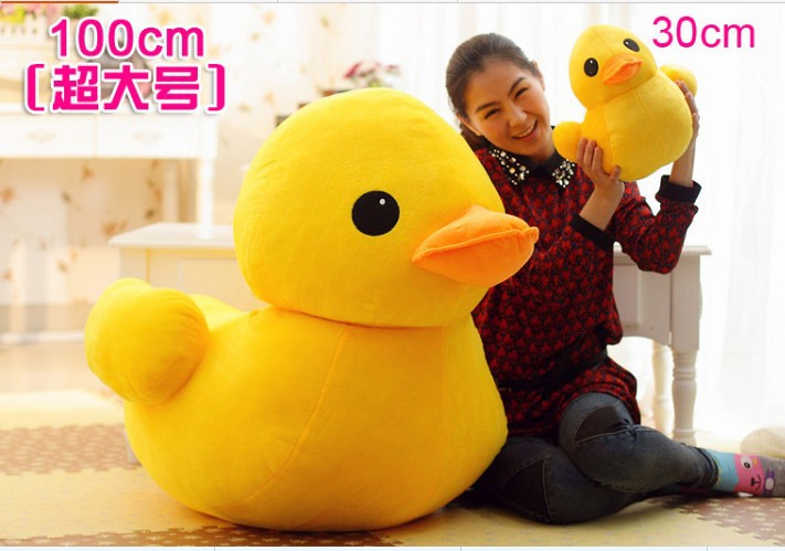huge yellow duck plush toy lovely duck doll pillow birthday gift about 100cm big duck big new simulation duck toy lovely white lifelike duck about 25x14x38 5cm