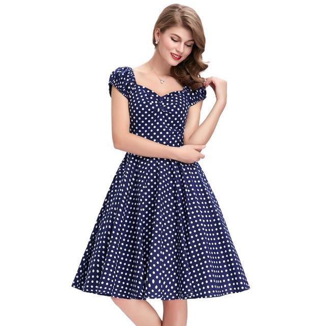 29e69d41c6af Summer Dresses Polka Dot Summer Dresses Short Sleeve Women Casual Party  Vestidos Femininos 50s Pinup Swing Rockabilly Dresses
