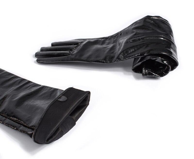 60 см (23,6 ) Средняя невидимая молния стиль настоящая лакированная кожа опера длинные перчатки черный - 5