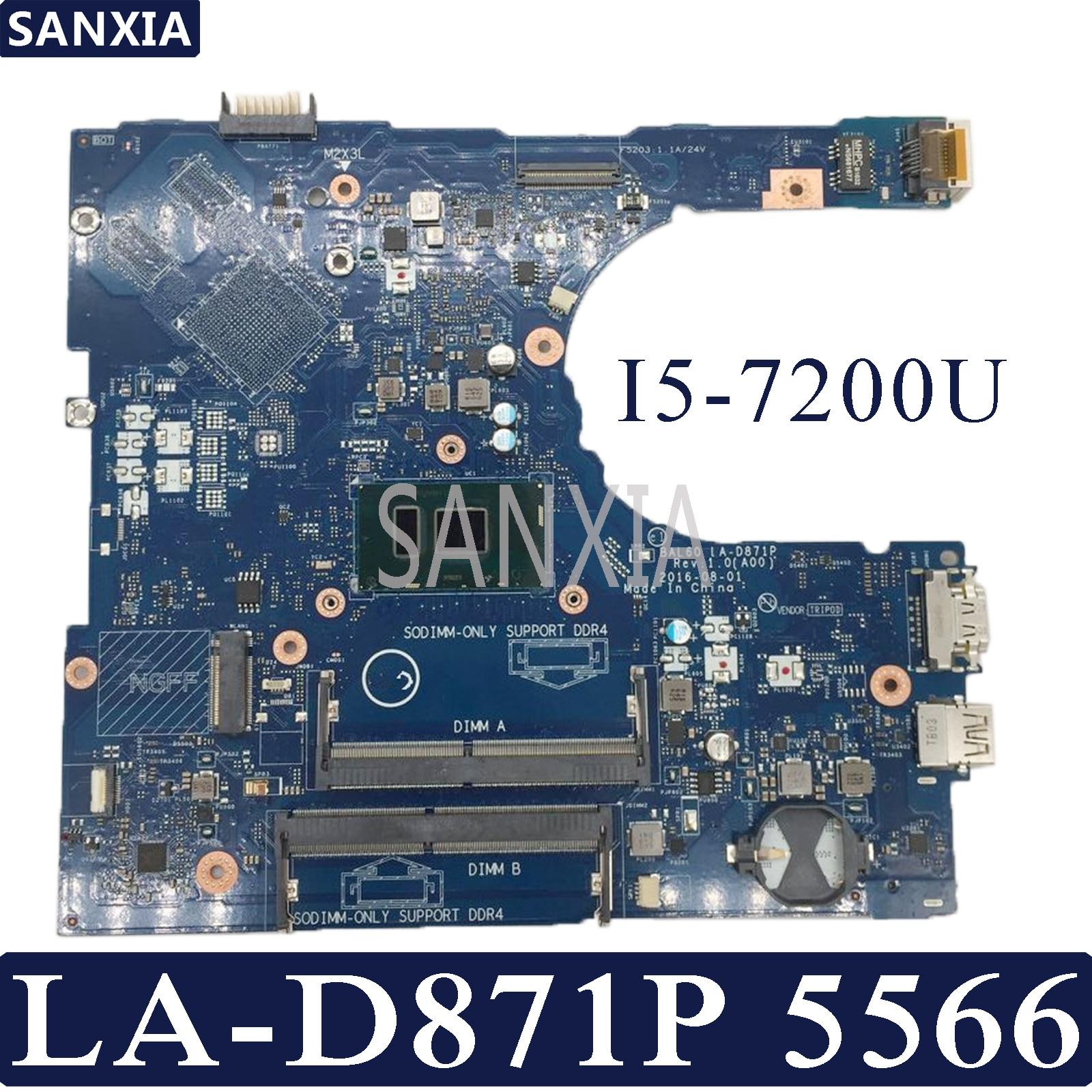 KEFU BAL60 LA-D871P Laptop Motherboard For Dell Inspiron 5566 Test Original Mainboard I5-7200U