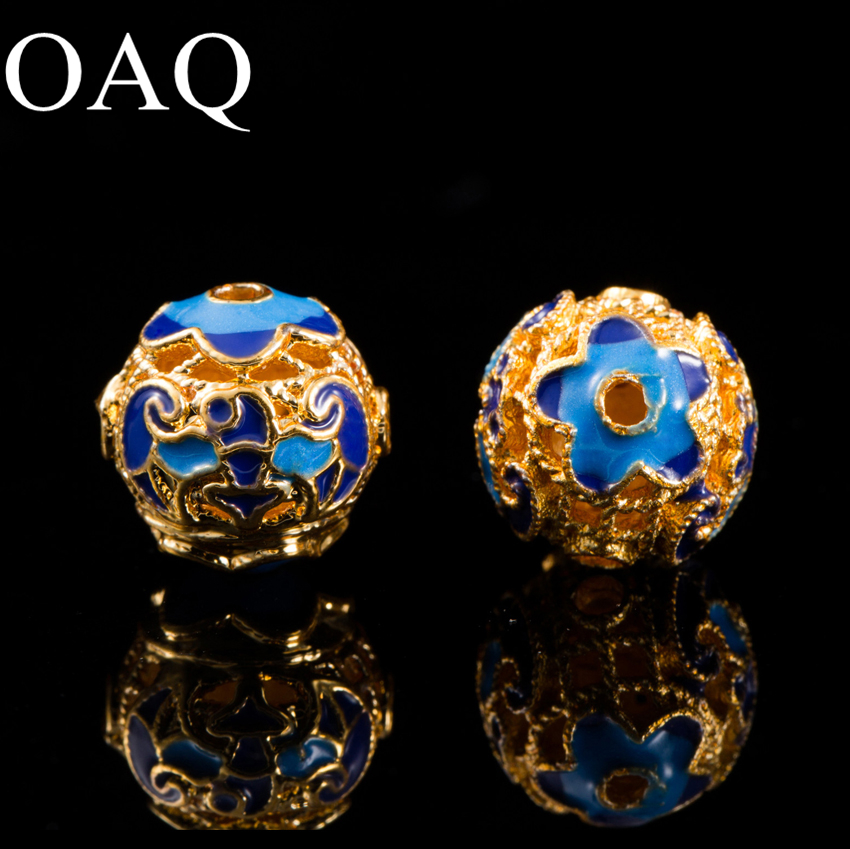 Cloisonne Jewelry Making Wholesale Beads For Jewelry 11mm Gold JEWELLERY Craft Pendant 3pcs Decoration Necklace