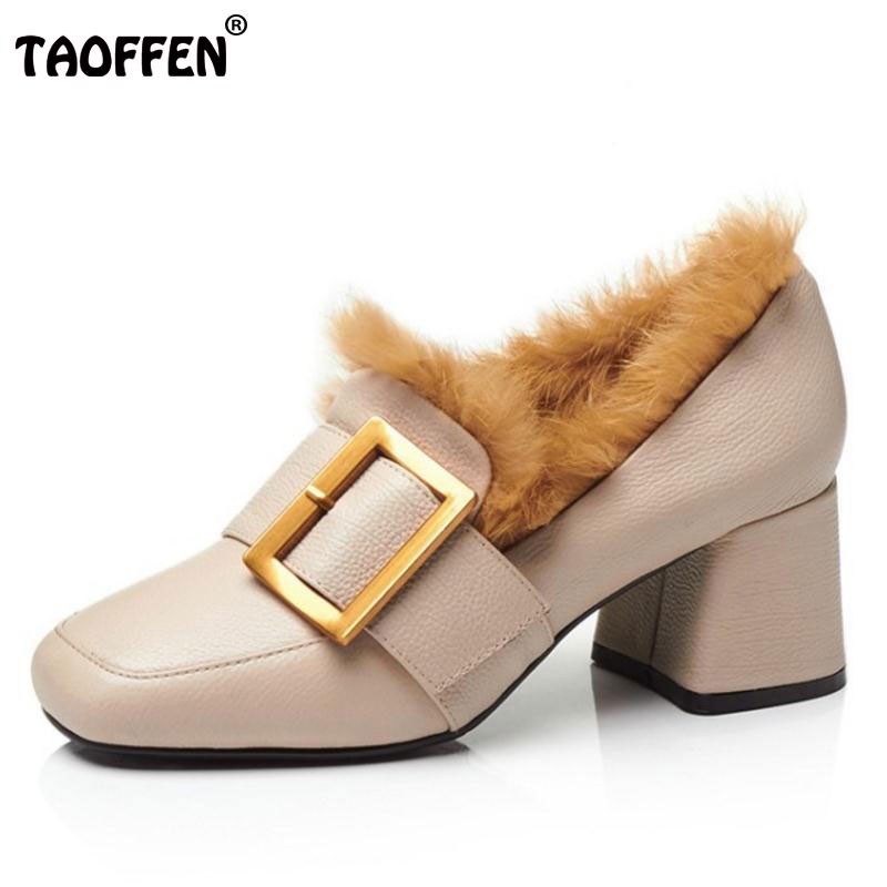 TAOFFEN Size 34-39 Ladies Real Leather Thick High Heel Pumps Autumn Warm Brand Pumps With Thick Fur Shoes Women Slip On Footwear brand women flats shoes real rabbit fur slippers plus size winter autumn warm female flat heel slip shoes casual home slippers30