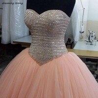 Vestidos דה 15 Anos נדל תמונת כדור שמלת האור ורוד Quinceanera שמלות ואגלי קריסטל נערת מפלגה לנשף שמלה מתוקה 16 שמלות