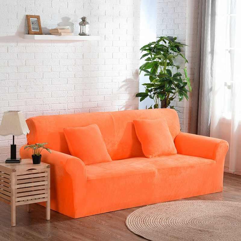 WLIARLEO Plush Sofa Covers Solid Orange Stretch Elastic fabric cover sofa  velvet Anti-Mite Manta Sofa Slipcover Towel For Home