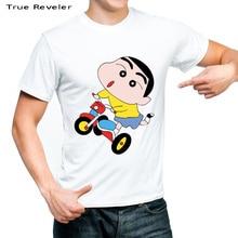 Verdadera marca men camiseta Japón anime Crayon shin chan t-shirt blanco  top 100% algodón hip hop tops camiseta 463f513fa43