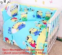 Korting! 6/7 stks Baby babybedje beddengoed set beddengoed Puur katoen gordijn wieg bumper, 120*60/120*70 cm