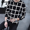 New Arrival Hoodies Men Decoration Male Pullover Casual Sweatshirt Men Hoodie Plus Size 3XL line lattice o neck Long sleeve G061