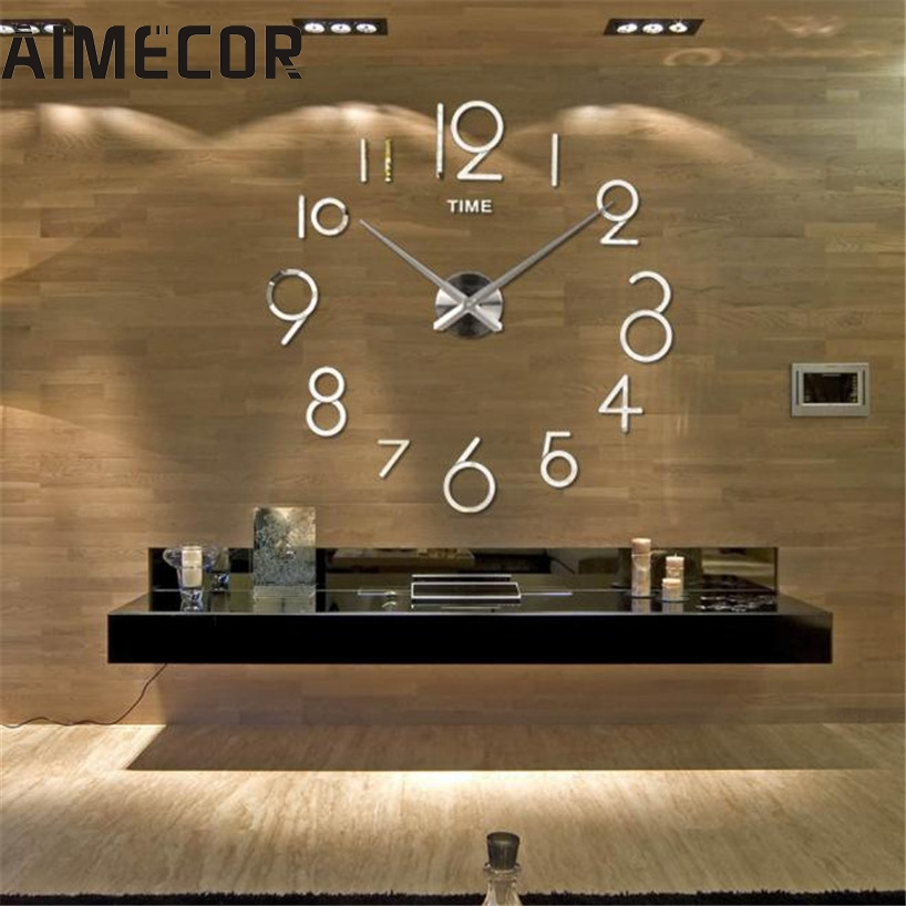 Wall Clock Living Room DIY 3D Home