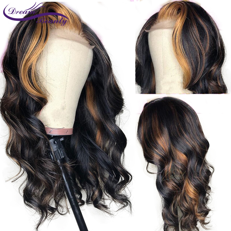 Ombre Human Hair Lace Wig Pre Plucked Brazil Lace Front Manusia - Rambut manusia (untuk hitam)