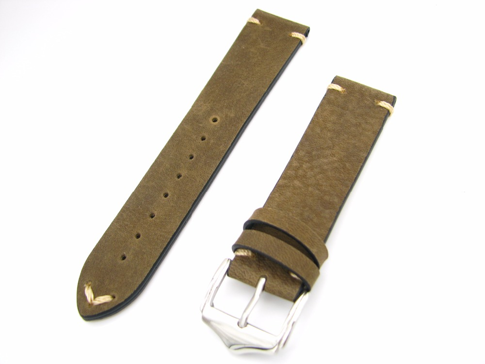 CARLYWET 20 22mm Genuine Cowhide Leather Green Brown Vintage watchbands Strap Belt Silver Polish Pin Buckle