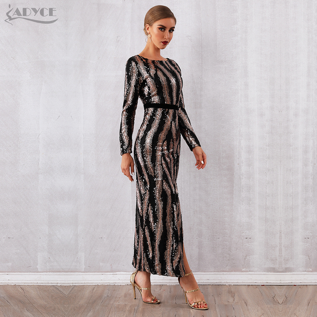Adyce 2019 New Winter Sequin Celebrity Evening Runway Party Dress Women Vestidos Sexy Backless Maxi Long Sleeve Night Club Dress 2