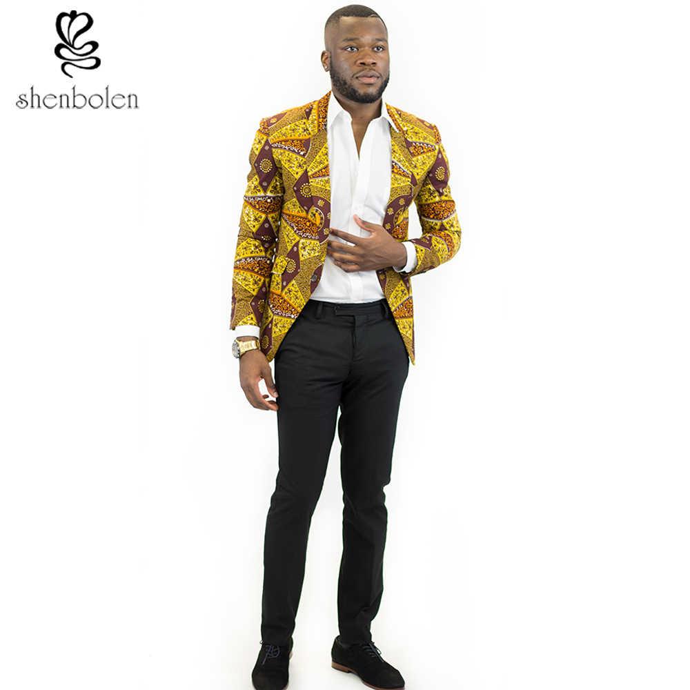 African Clothes For Men Fashion Leisure Suit African Man Dashiki Batik Wax  Printing Suits Blazer d71fbf014704