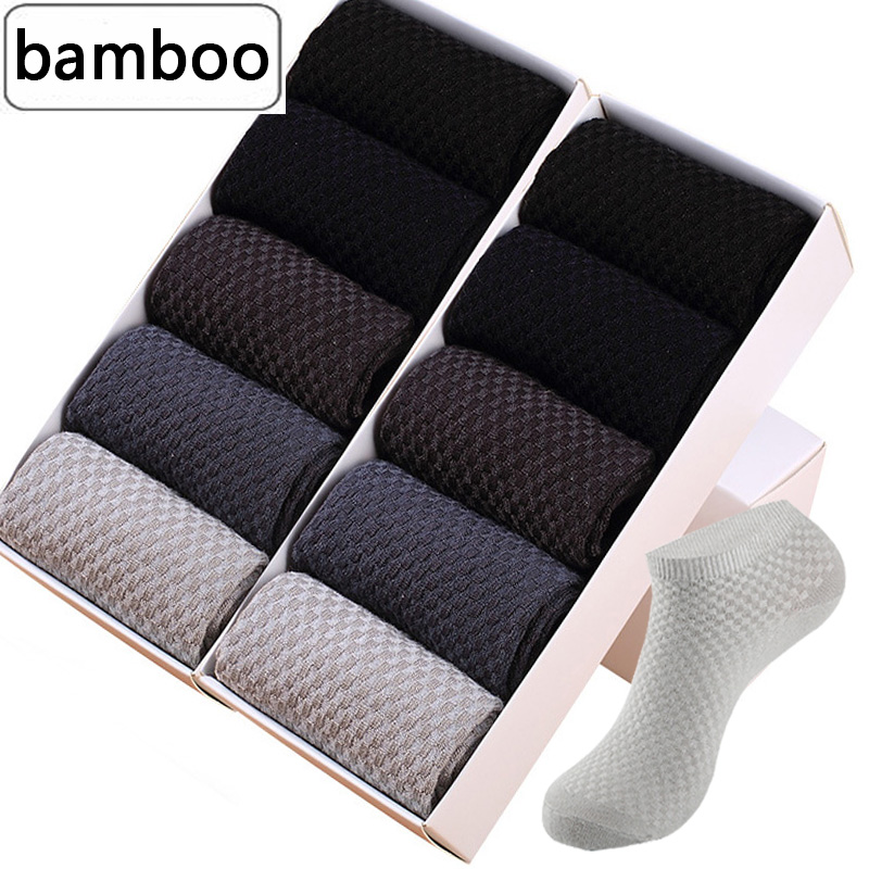 10Pairs/lot Men's Socks Bamboo Fiber Short Ankle Socks Spring Autumn Breathable Business Anti-bacterial Male Sock Meias Male Sox