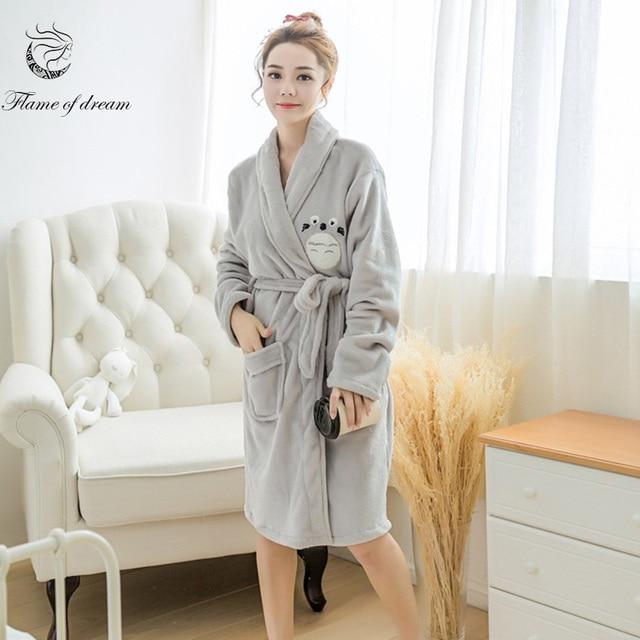 4a208dfe7b Winter coral fleece Robes For Women Sleepwear Kimono Robe Sleep Robes For  Women 1143