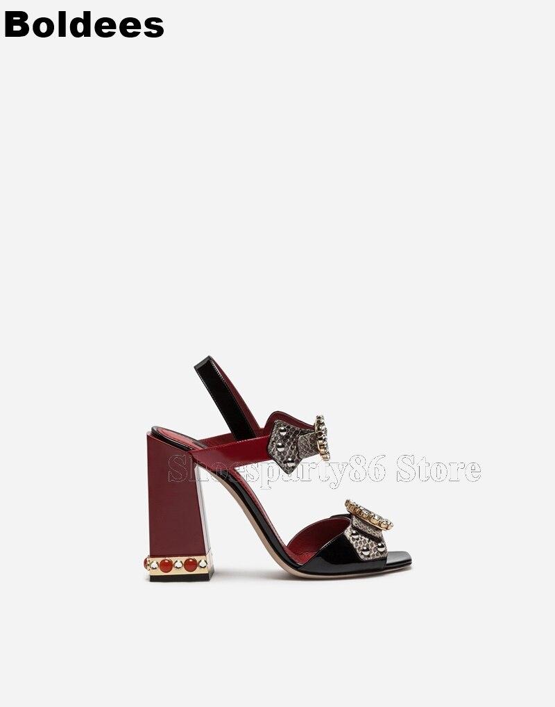 Модные женские босоножки из змеиной кожи с заклепками, многослойный из бусин, с пряжкой, на высоком каблуке, с открытым носком - 5
