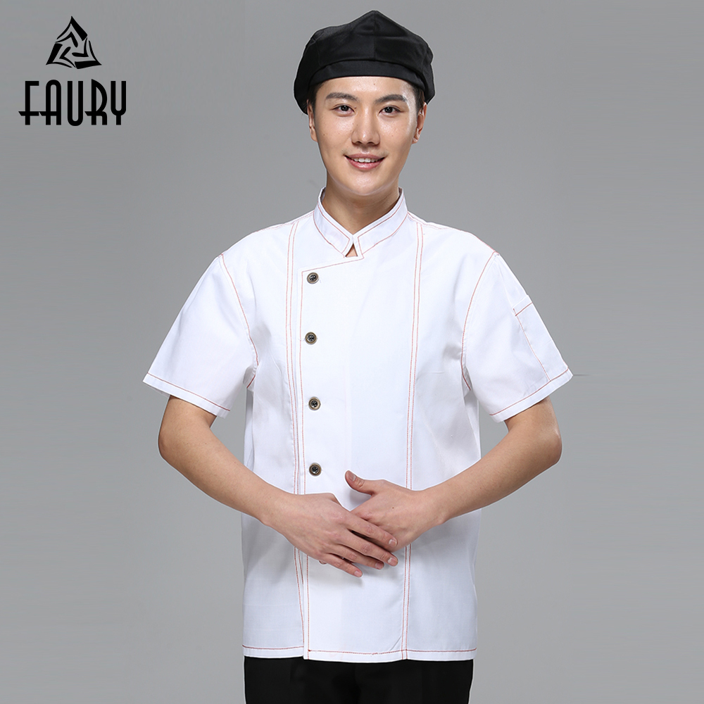 New Chef Jacket Hotel Restaurant Work Wear Short Sleeve Women Mens Kitchen Chef Uniform Cook Clothes Food Services Overalls