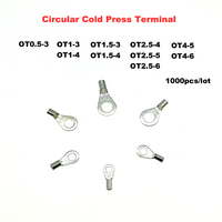 1000pcs/lot Circular bare cold end terminals Electrical crimp terminal naked wire connector OT0.5 3~4 6 wiring cable ferrules|Terminals| |  -
