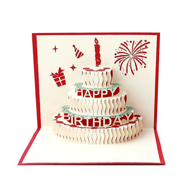 3d stereoscopic greeting card handmade gift decoupage birthday cake