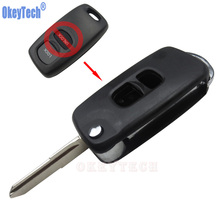 OkeyTech New Modified 2 Buttons Flip Folding Car Remote Key Uncut Blade For Mazda 3 5
