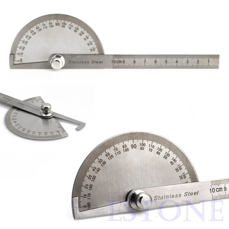 New Stainless Steel 180 Degree Protractor Angle Finder Arm Measuring Ruler Tool W15