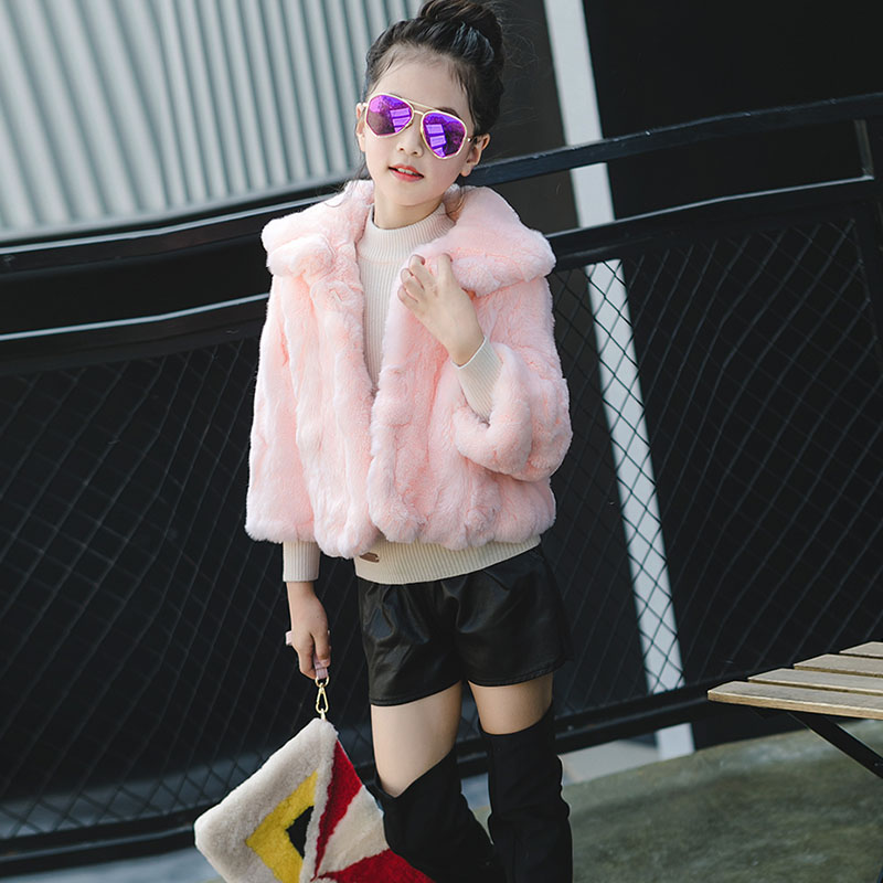 2017 Fashion Rex Rabbit Fur Coat for Children Winter Warm Thick fur Coat for Girls Clothing Parka Short Jacket Outerwear C#28 winter girl jacket children parka winter coat duck long thick big fur hooded kids winter jacket girls outerwear for cold 30 c