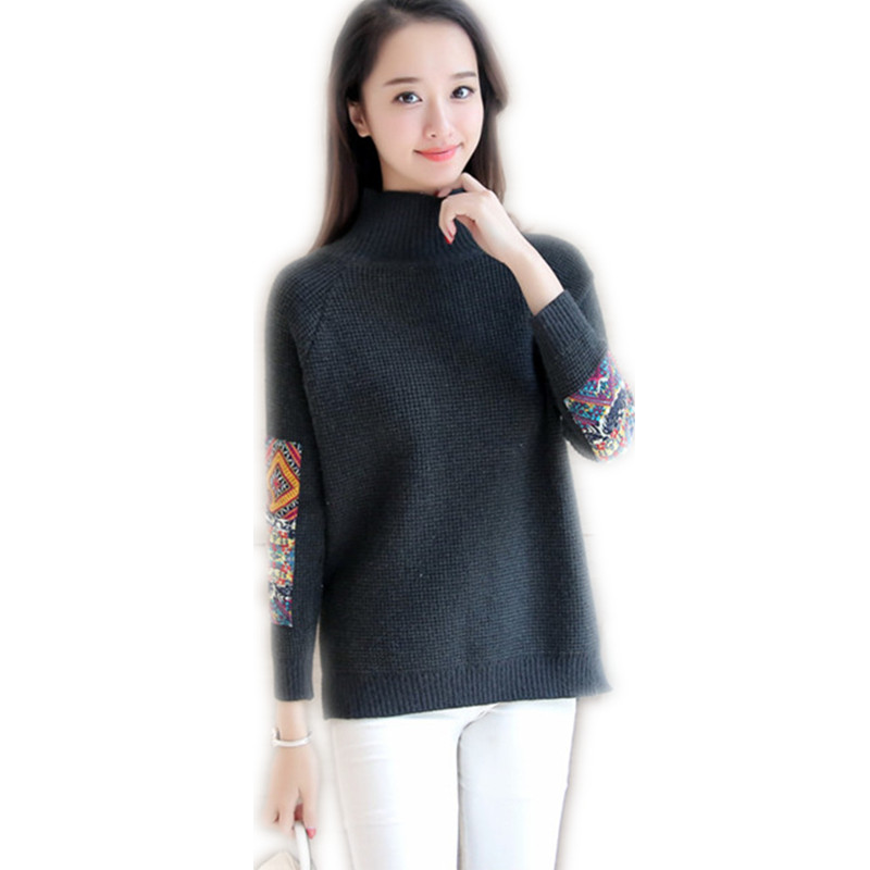 2018 Fashion Patch Designs Winter Women Short Knitting Shirt Female Turtleneck Pullovers Pure Color Warm Cotton Sweater CQ753