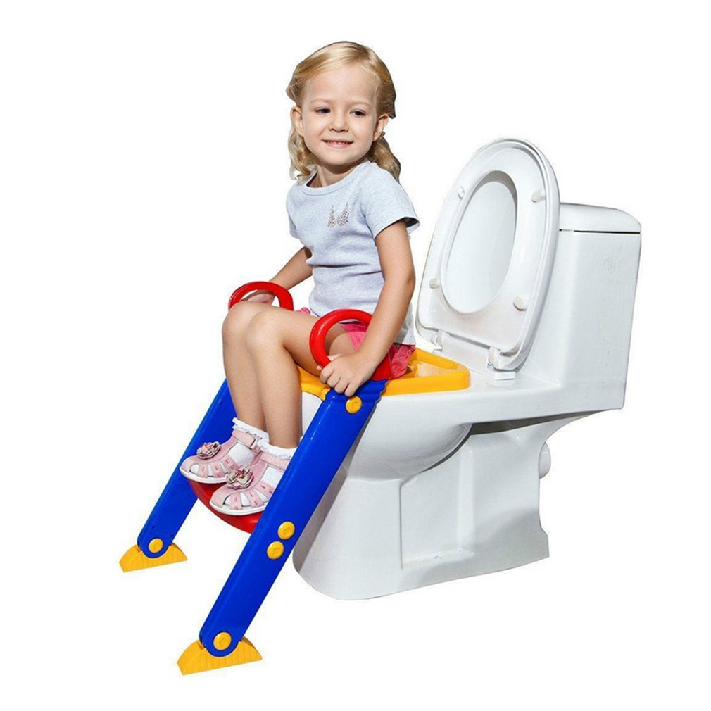 Baby Potty Training Seat with Adjustable Ladder Children's Potty Baby Trainer Infant Toilet Folding Seat Chair for Kids happy baby potty liners 30 шт