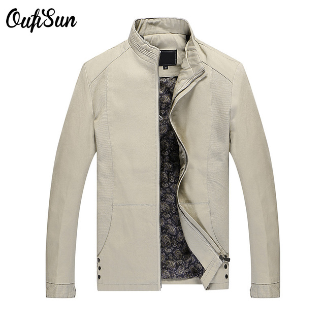 Oufi sun 2017 high quality stand collar standard jackets fashion casual business classic style brand jacket coats 4XL 4color