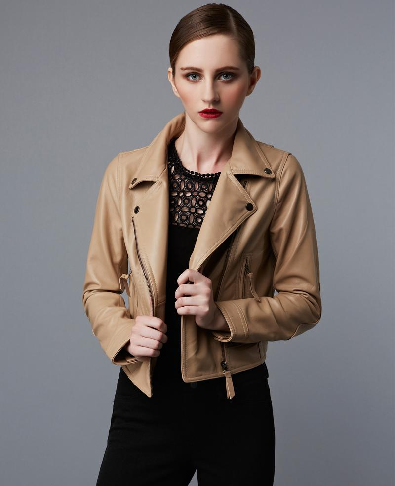 Factory Genuine Leather Jacket Women Real Sheep Skin Black Red ...
