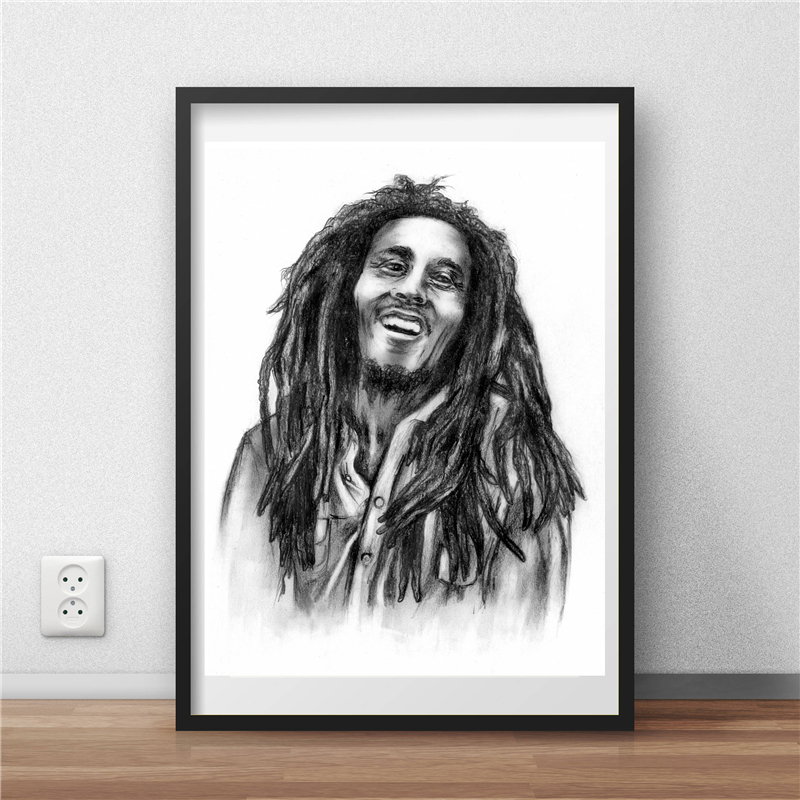 Reggae Bob Marley Black White Wallpaper Wall Art Canvas Posters Prints Painting Wall Pictures Modern Bedroom Home Decor Artwork Painting Calligraphy Aliexpress