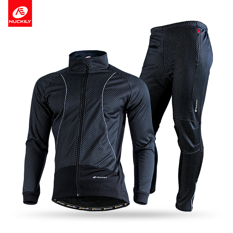 NUCKILY Men's Winter Cycling Suit Windproof Bicycle Jacket Outdoor Breathable Foam Pad Thermal Bike Jersey Apparel NJ525NS358