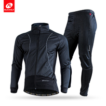 -------NUCKILY Mens Winter Windproof Outdoor Breathable Polyester Cycling Sports jersey Suit