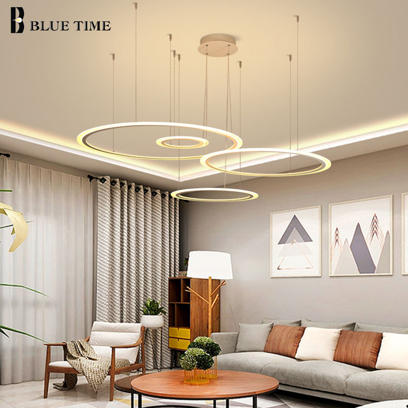 Circle Acrylic LED Chandeliers Lighting For Living Room Bedroom Dining Room Modern Home Coffee&White&Black Body LED Chandeliers