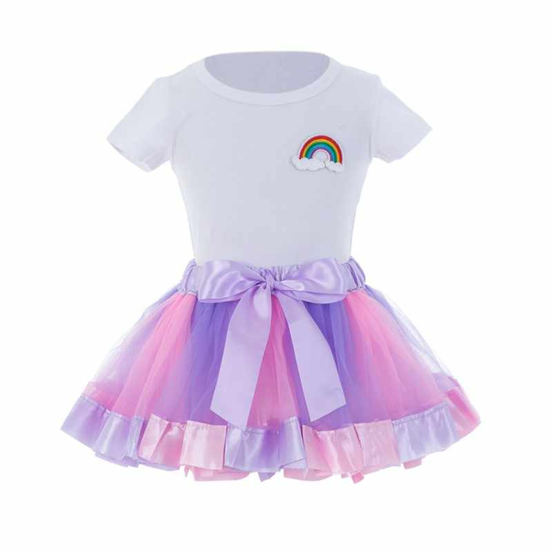 Conjuntos de ropa de verano para niñas, camisetas de flores de dibujos animados + vestido de falda tutú 2 piezas, conjuntos de ropa para niñas, ropa de princesa 2018 nuevo