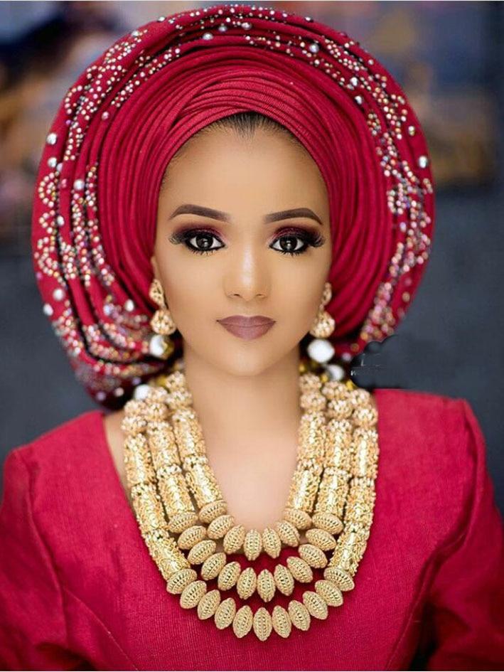 2017 Nigerian Wedding African Beads Jewelry Sets Luxury Dubai Gold Accessory Statement Jewelry Set Christmas Gift Jewelry ABH706