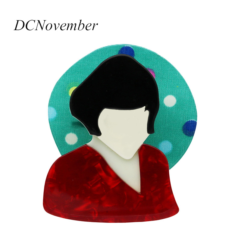 DCNovember Amelie Brooches Acrylic Angel Gril Film Pattern Brooch Pin Environmental Acetate Brooch Pins Accessory
