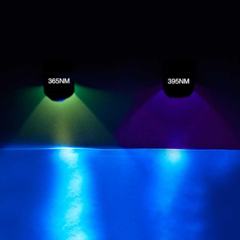 Mini linterna ultravioleta uv zoom linterna 365nm luz negra linterna uv 395nm 14500 batería recargable o batería AA