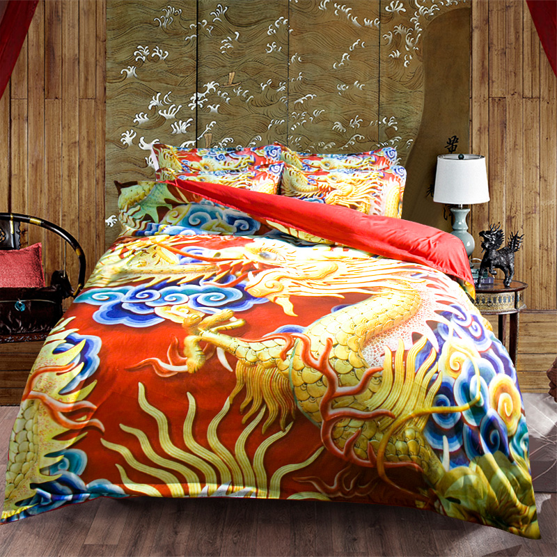 Unique Traditional Chinese Dragon 3d Bedding Set Twin Queen King Size Duvet Cover Red Fitted Sheets or Flat Sheet Sets for SaleUnique Traditional Chinese Dragon 3d Bedding Set Twin Queen King Size Duvet Cover Red Fitted Sheets or Flat Sheet Sets for Sale