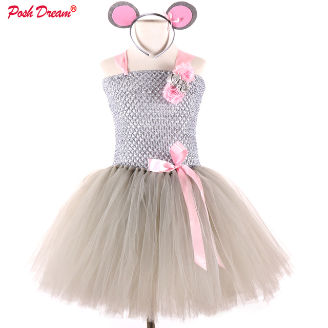 POSH DREAM Cartoon Mouse Cosplay Dress 1st Birthday Party Dresses Happy Purim Halloween Girls Cosplay Costume Clothes For Kids