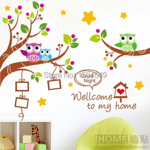 diy wall stickers home decor cartoon owl tree branch photo frames ...