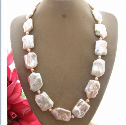 18x25mm collier de perles Keshi rose naturel>>> filles pour femmes bijoux livraison gratuite