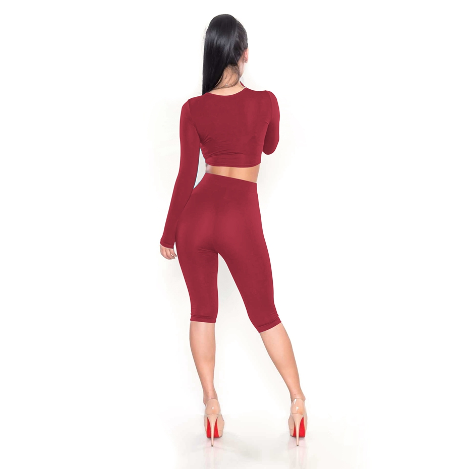 HAOYUAN 2 Piece Set Women Sexy Long Sleeve Top+Biker Shorts Track Suit Bodycon Tracksuit Casual Two Pieces Outfits Sweatsuit 20
