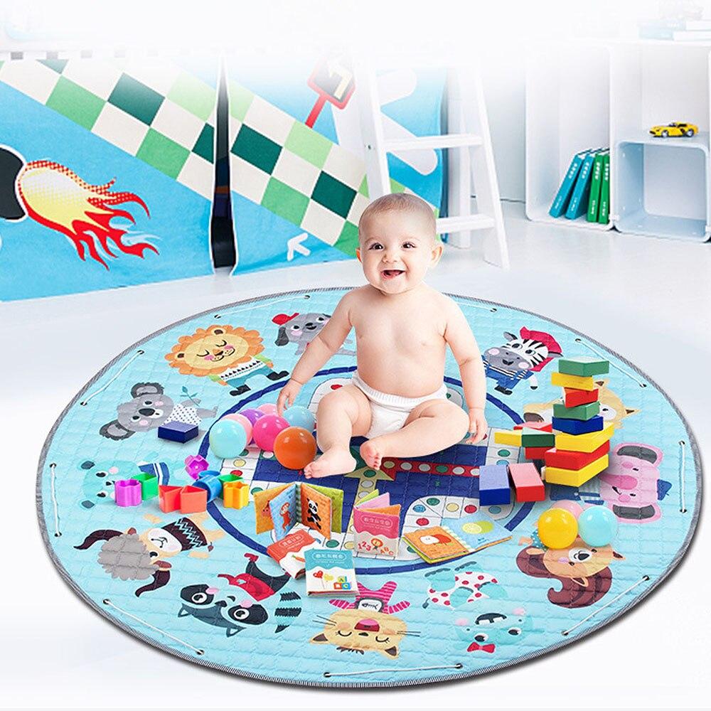 MrY Portable bébé pliant tapis de jeu bande dessinée antidérapant rampe tapis de Camping en plein air tapis enfants tapis jouets poche ronde sac de rangement