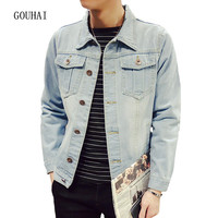 Men S Solid Denim Jacket Slim Male Casual Outerwear Coat Plus Size S XXXL 4XL 5XL